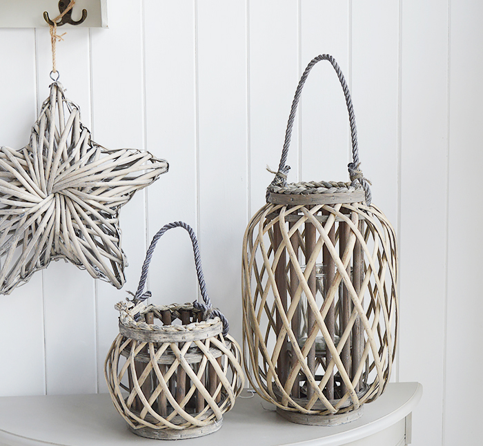 Grey willow lanterns for coastal country and New England interiors from The White Lighthouse Furniture