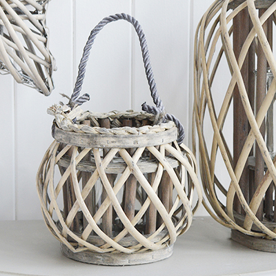 Grey Willow Round Lantern from The White Lighthouse Home Decor. White Furniture and home decor accessories for New England, country, coastal and city interiors