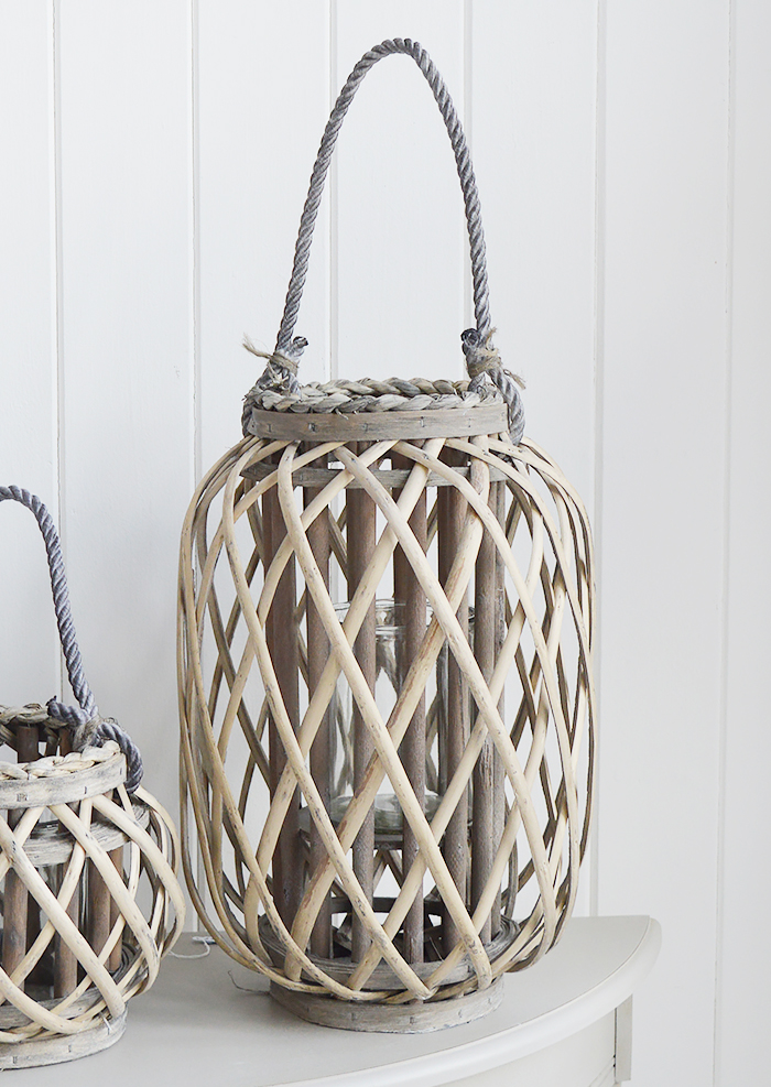 Grey willow lanterns for coastal country and New England interiors for hallway