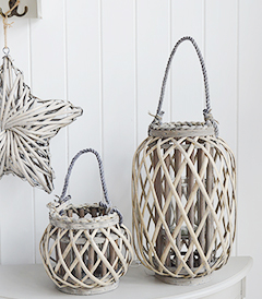 Grey Willow lanterns for coastal and country decor from The White Lighthouse Furniture. Hallway, Living Room and Bedroom