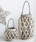 Grey willow rustc lanterns for country and coastal interior design