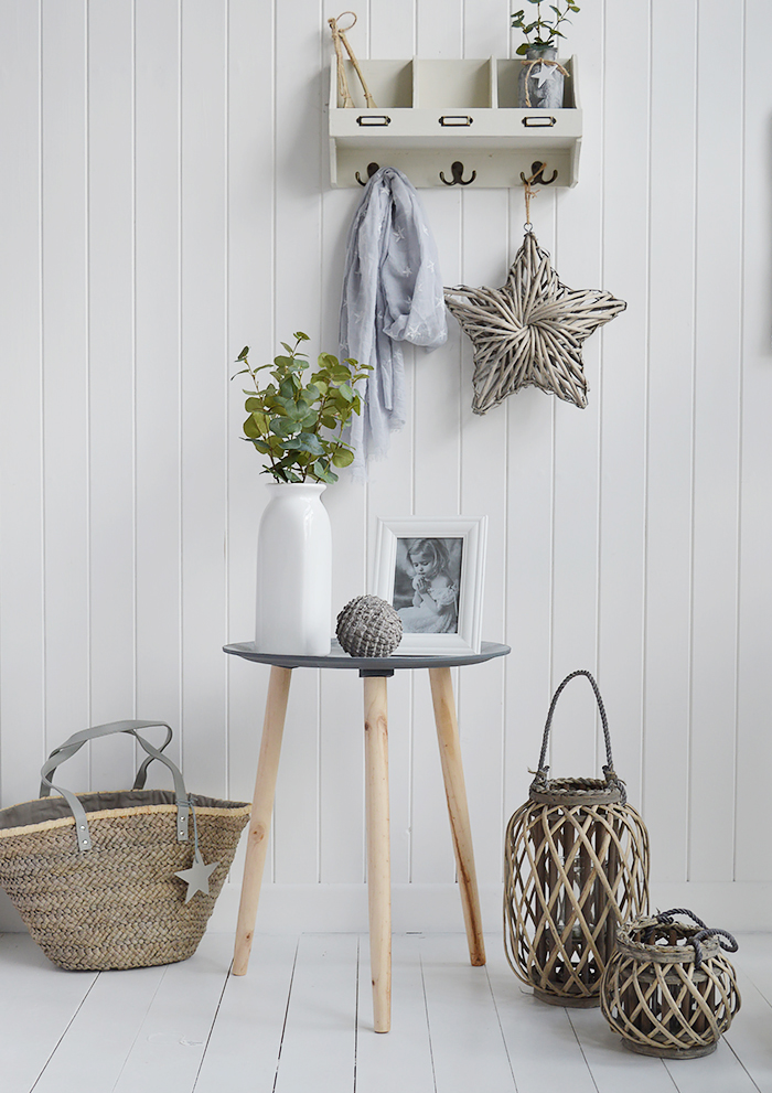 Grey willow lanterns for coastal country and New England interiors with Boston Bohemian Table and accessories