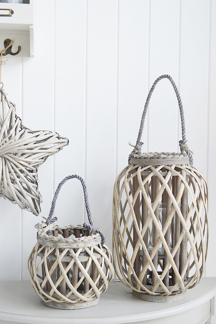 Grey willow lanterns for coastal country and New England interiors