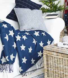 The White Lighthouse Furniture new England Lifestyle for Country and Coastal Living - navy star throw