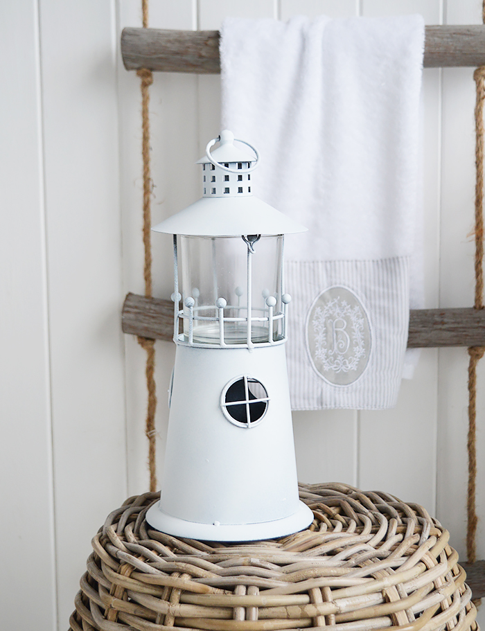 White Lighthouse candle holder for coastal and nautical interiors