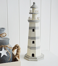 Decorative Lighthouse in greys and off white for coastal and nautical home decor