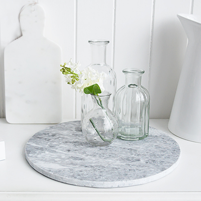 Grey & White marble Round Tray Chopping Board- New England style White Home Accessories for country, coastal and city homes and interiors