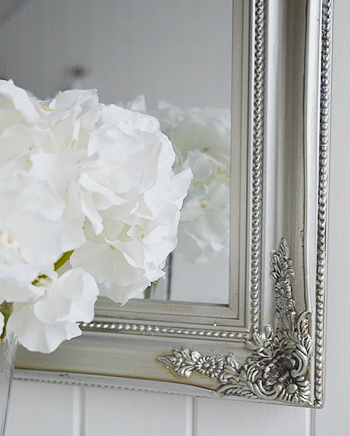 Large Decorative Silver Wall Mirror From The White Lighthouse