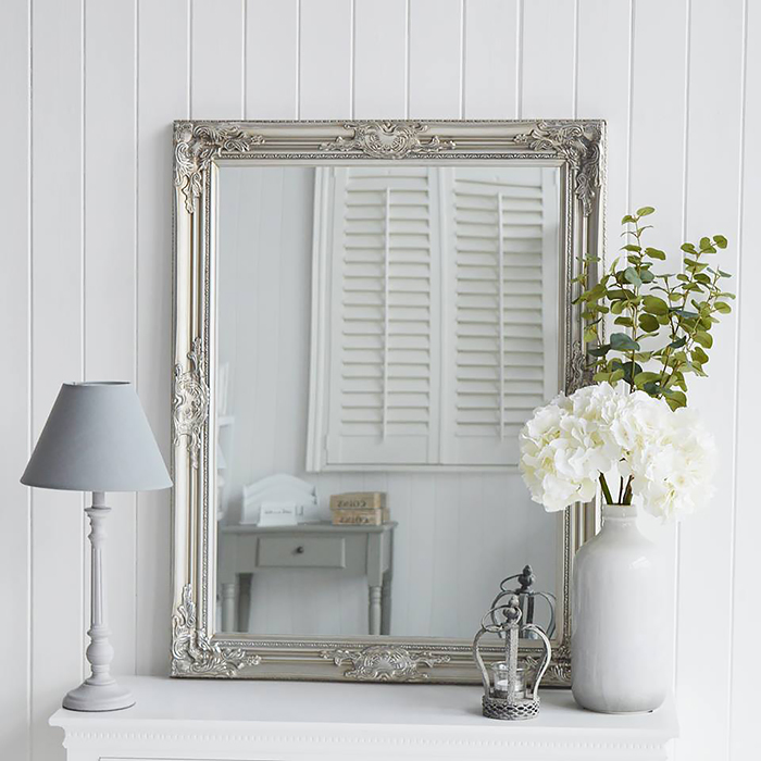 Silver wall mirror, dressing table or over mantel mirror