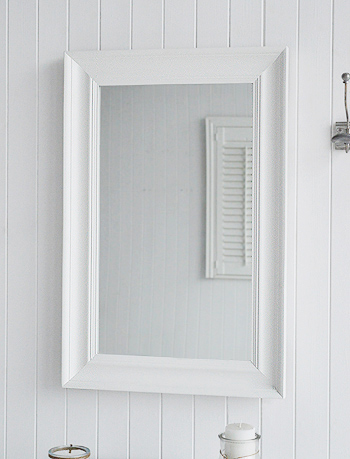 Chunky white large wall mirror