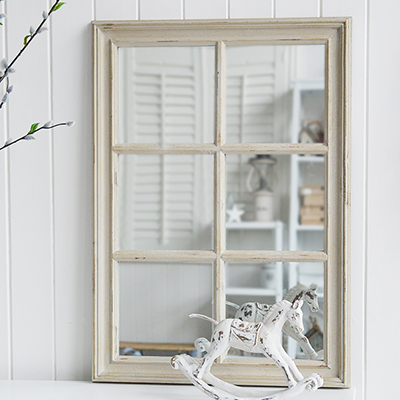 Our simple but elegant Cambridge distressed wood framed wall mirror in aged soft grey.