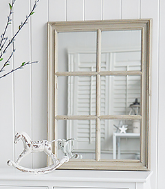 Oxford grey Vintage window wall mirror from The White Lighthouse Furniture for the Hallway, living room, bedroom and bathroom for New England, country, coastal and city homes and interiors