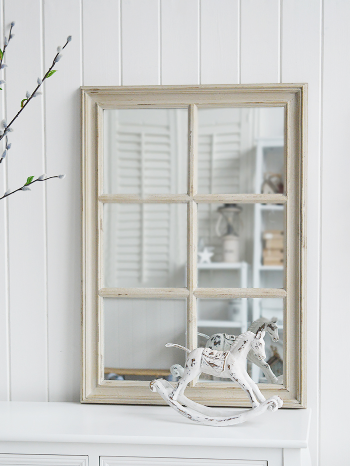 Cambridge grey Vintage window wall mirror from The White Lighthouse Furniture for the Hallway, living room, bedroom and bathroom for New England, country, coastal and city homes and interiors