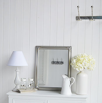 Silver small hallway mirror sor silver and white interiors