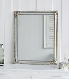 Silver Dressing Table Mirror to set on a table in New England Country Coastal White Furniture and Interior Design