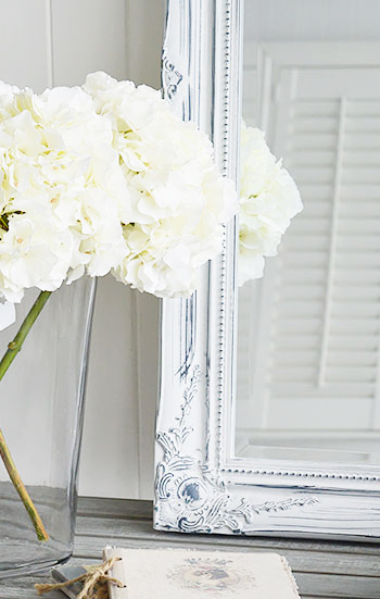 Ornate Versailles white wall mirror