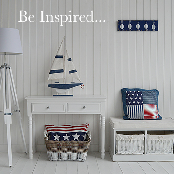 Tall Decorative Wooden Boat In White And Navy