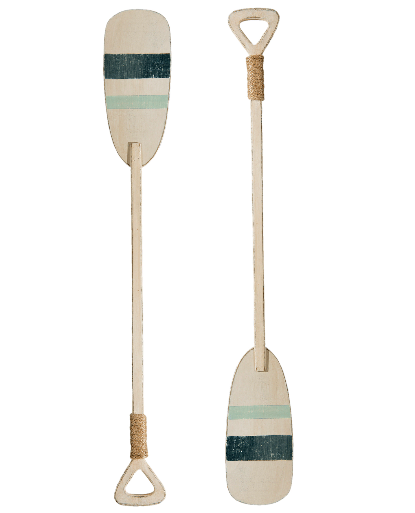 Set of 2 decorative wooden oars for coastal home interiors for nautical accessories