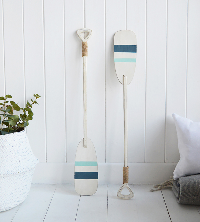 Set of 2 decorative wooden oars for coastal home interiors in nautical colours for beach houses