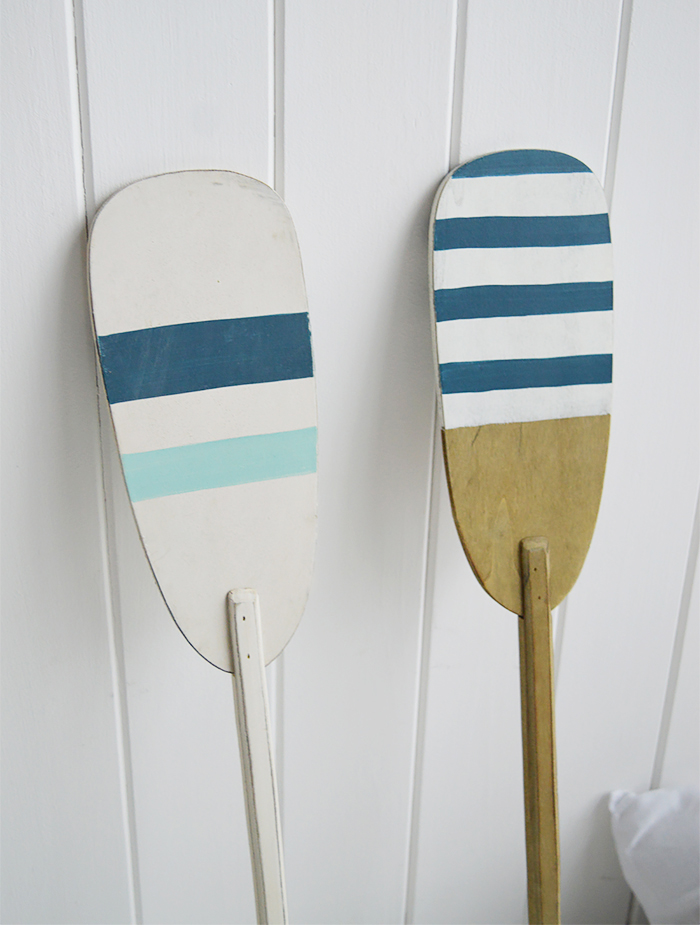 Set of 2 decorative wooden oars for coastal home interiors
