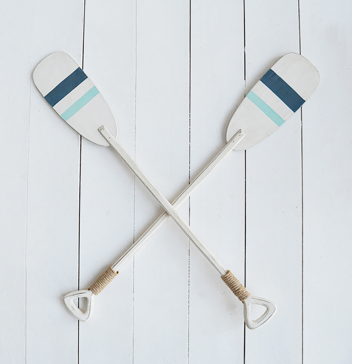Pair of decorative wooden oars for coastal styled interiors