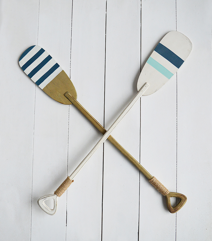 Set of 2 decorative wooden oars for coastal home interiors in nautical colours