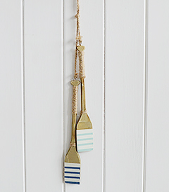 A set of 2 small decorative hanging oars from The White Lighthouse Coastal furniture