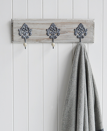 Parisian Grey Coat rack, 3 hooks for small hallways