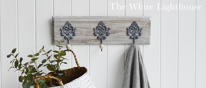 Parisian Grey Ornate Triple Coat Rack from The White Lighthouse Hallway Furniture