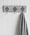 Parisian Grey Triple Hook, rack for coats or bathroom