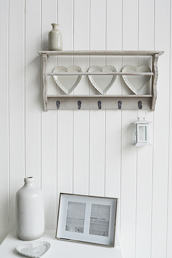 Parisian Grey Shelf with hooks and heart plates