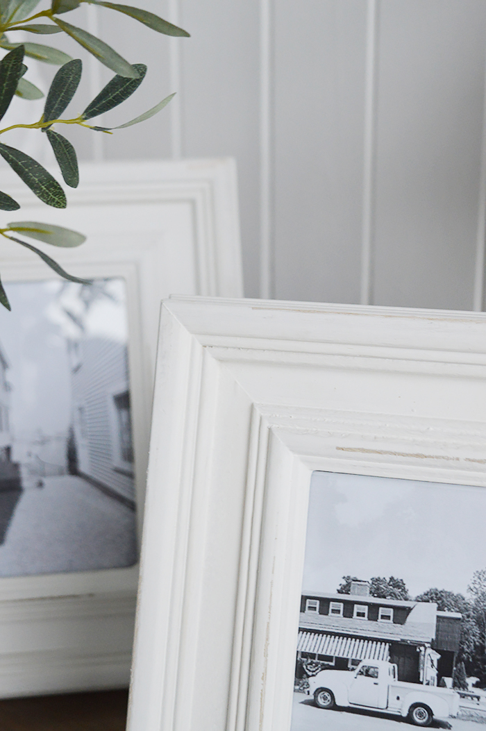 A chunky white Beach House wooden photo frame for 5 x 7 and 6 x 4 photographs - portrait or landscape. White Furniture and home decor accessories for the New England styled home fro all country, coastal and city houses.Image shows the finish