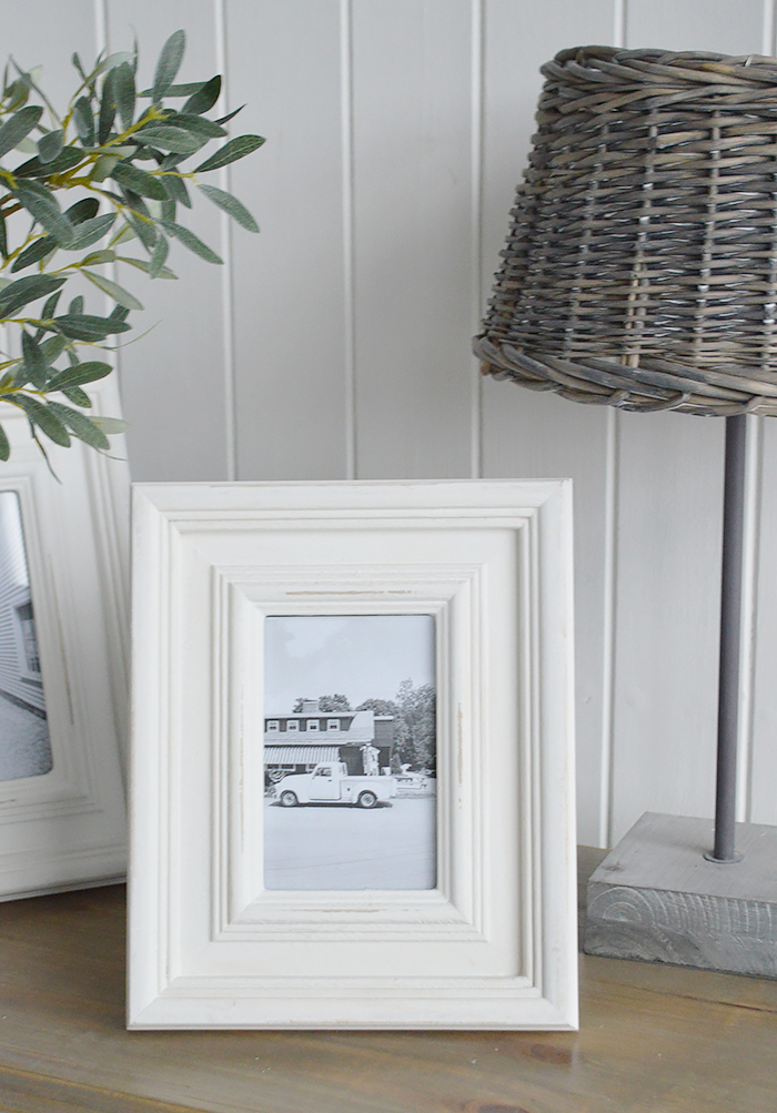 A chunky white Beach House wooden photo frame for 5 x 7 and 6 x 4 photograph - portrait or landscape. White Furniture and home decor accessories for the New England styled home fro all country, coastal and city houses.