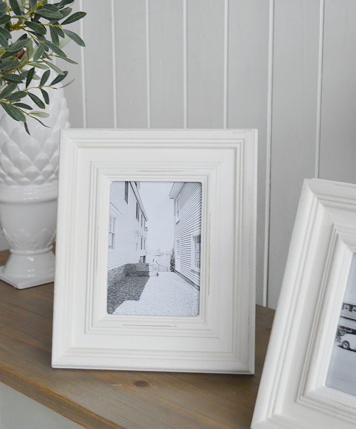 A chunky white Beach House wooden photo frame for 5 x 7 and 6 x 4 photographs - portrait or landscape. White Furniture and home decor accessories for the New England styled home fro all country, coastal and city houses.