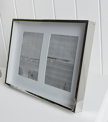Double silver photoframe with white mount for two 6x4 photographs