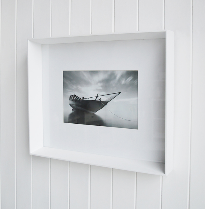 A white large box wooden photo frame for 12 x 8 photographs - wall hung or standing. White Furniture and accessories for the home. New England Coastal and Country for the hallway, living room, bedroom and bathroom from The White Lighthouse Furniture