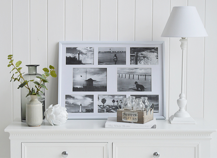 Portland white multi collage photoframe to display photographs on wall, shelf or table top