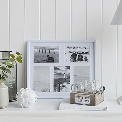 The Portland small white multi photo frame for five 6x4 photographs.