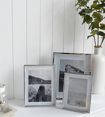 Silver photoframes with white mounts, for 6x4, 5x7 and 8x6 photographs