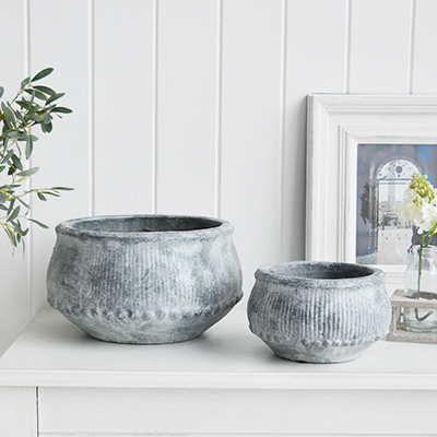 Grey Stone Bowls from The White Lighthouse coastal, New England and country furniture and home decor accessories UK