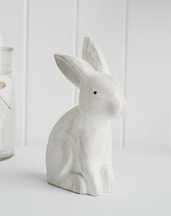 Decorative wooden white bunny rabbit