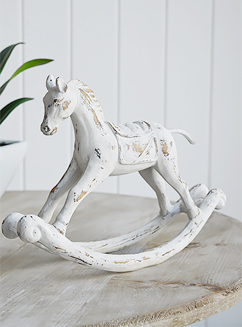 Decorative White Wooden Rocking Horse
