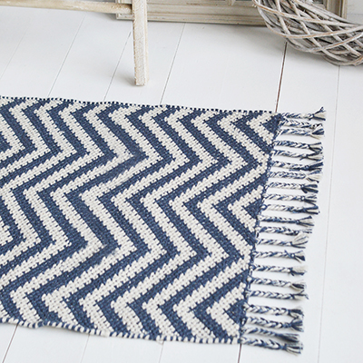 Our chunky Duxbury floor rug in grey and off white herringbone for thick gorgeous floor coverings on carpets and hard floors alike. Perfect for creating beautiful rooms as well as protecting hard wearing places in your home.Just made for our New England styled interiors for coastal, city and country homes in a simple but gorgeous style