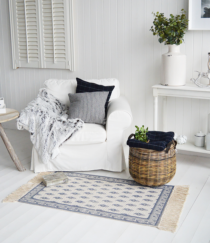 New England Navy and white small rug for living room firepalce