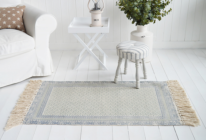 Hampton Rug Floor Navy Grey Linen New England Coastal, Country and City homes - The White Lighthouse Furniture for hallway, living room, bedroom and bathroom