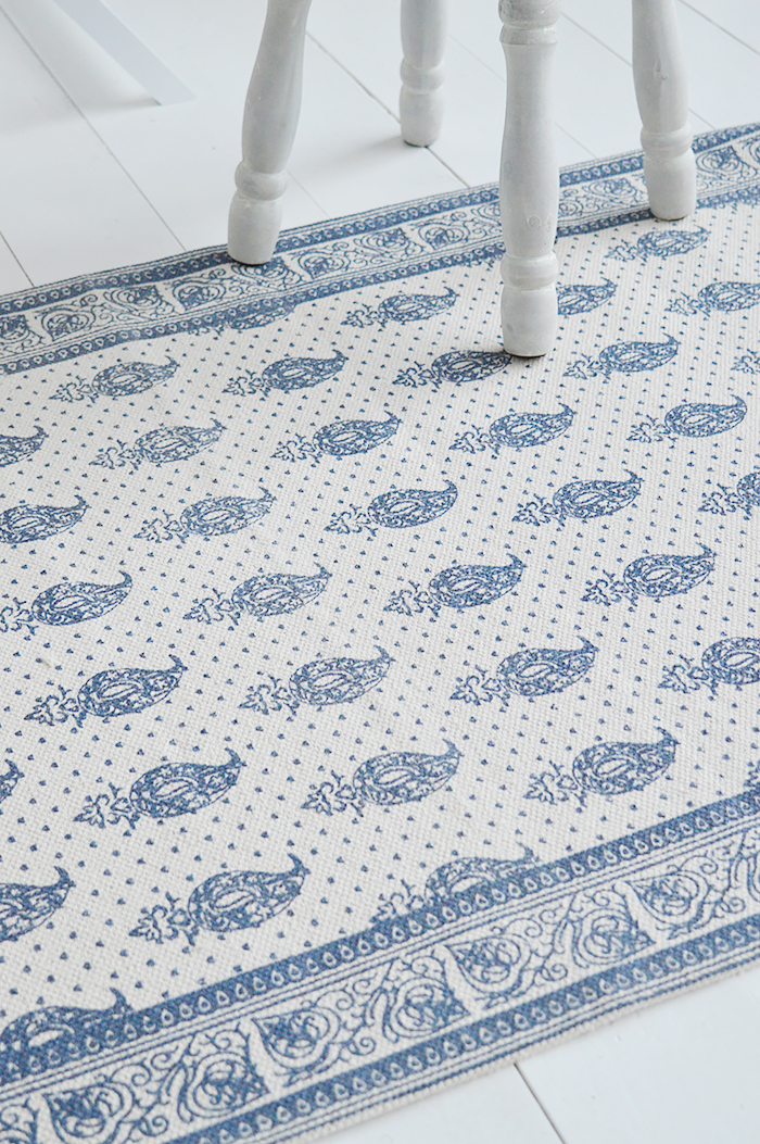 Hampton Rug Floor Navy Linen New England Coastal, Country and City homes - The White Lighthouse Furniture for hallway, living room, bedroom and bathroom