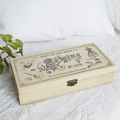 wooden sewing box in vintage new england style