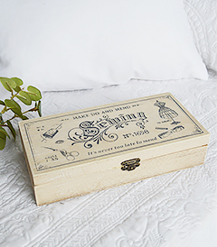 A decorative wooden sewing box in a vintage distressed style to perfectly complement both New England country and coastal interiors from The White Lighthouse Decor and Interiors