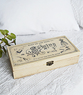 A decorative wooden sewing box in a vintage distressed style to perfectly complement both New England country and coastal interiors from The White Lighthouse