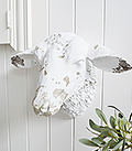 Decorative White Sheep Head Wall Decor designed to perfectly complement our New England Coastal and Country home interiors with our bedroom, living room anf hallway white furniture